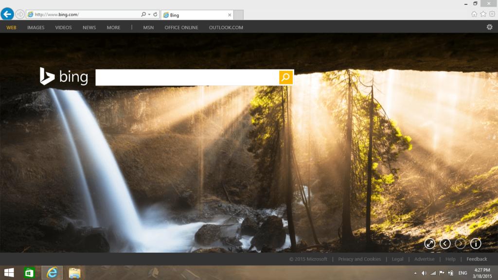 Screenshot of Microsoft Internet Explorer 11 running in Windows 8.1