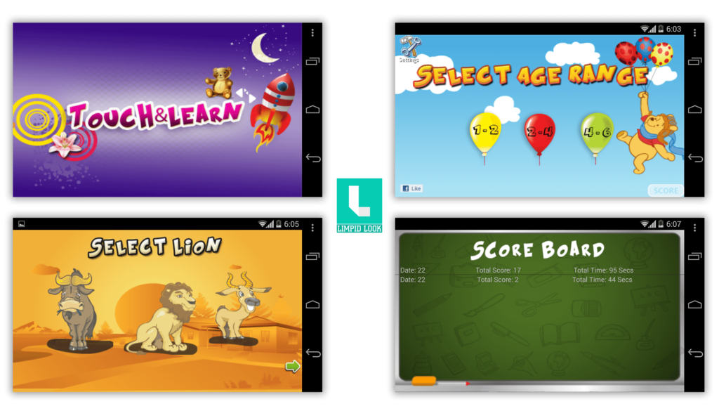 Kids Touch And Learn App Screens