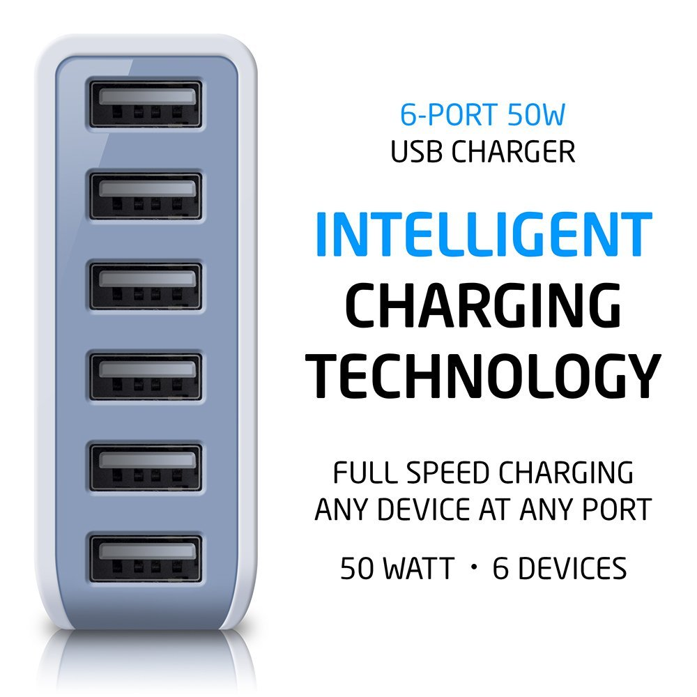 Photive 50 Watt 6 Port USB Desktop Rapid Charger