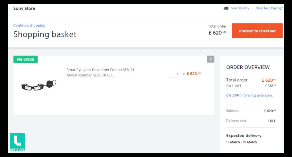 Sony SmartEyeglass Shoppingcart
