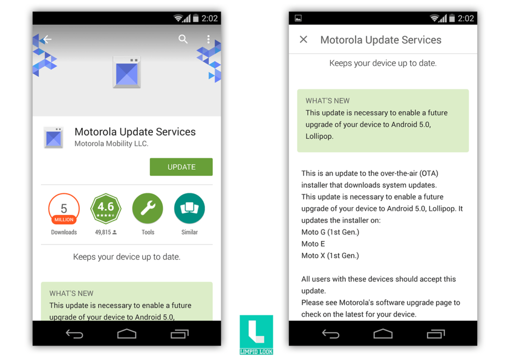 moto x 1st gen lollipop update
