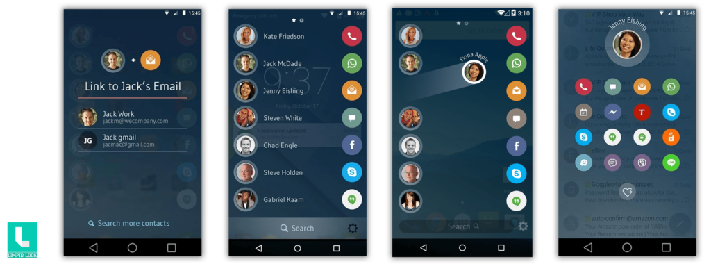 Drupe – Contacts Your way App Screens