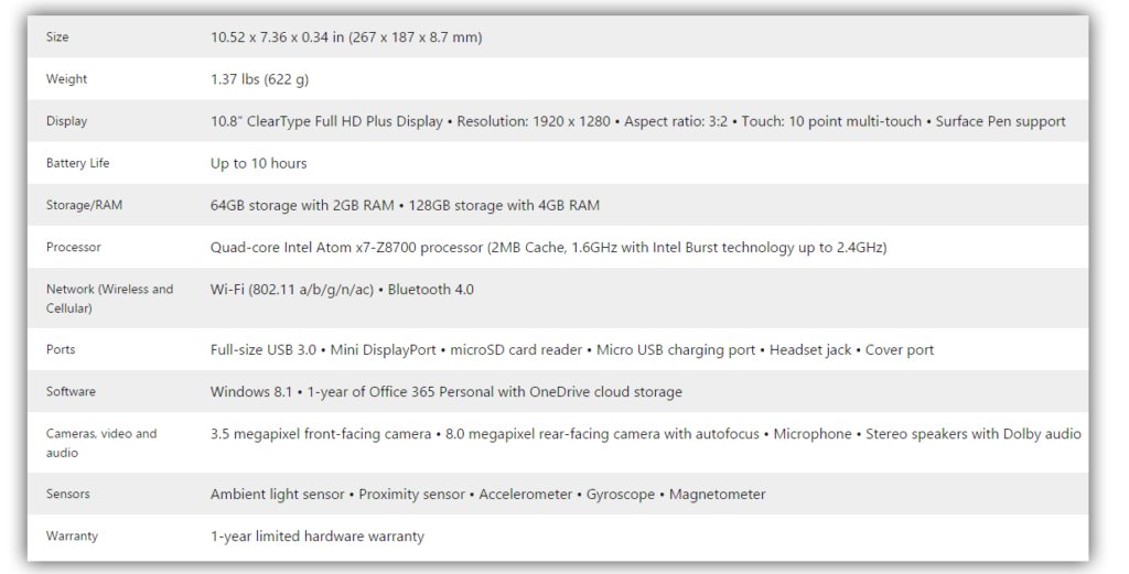 Microsoft Surface 3 Specs