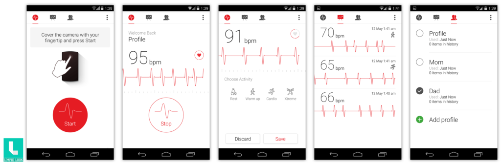 Cardiograph App Screens
