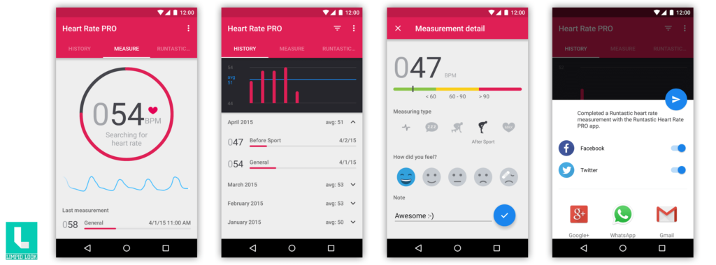 Runtastic Heart Rate PRO Android App Screens by Runtastic