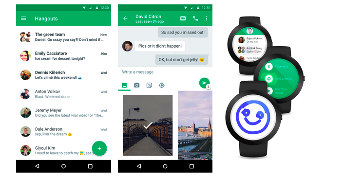 Google Hangouts 4.0 is now synced with your Android wear and you can reply directly through your watch.